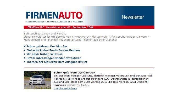 Mit dabei beim FIRMENAUTO-Newsletter