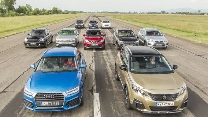 Audi Q3, BMW X1, Hyundai Tucson, Jeep Renegade, Mini Countryman, Nissan Qashqai, Peugeot 3008, Renault Kadjar, Seat Ateca, VW Tiguan